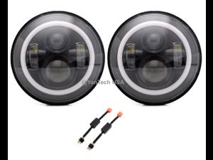 "2 x 7"" Round LED Headlights DRL&High/Low Beam For Jeep Wrangler JK TJ LJ CJ Hummer"