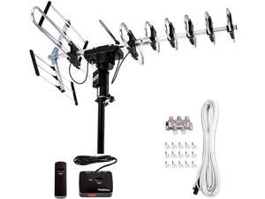 FSA-3806 Outdoor 4K HDTV Antenna Up to 200 Mile with Motorized 360 Degree Rotation Design, 2019 newest model UHF/VHF/FM Radio with Remote Control plus Installation Kit