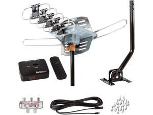 FiveStar Outdoor Antenna Up to 150 Mile Long Range 360 Degree Rotation Antenna, UHF/VHF/FM Radio with Infrared Remote Control Advanced Design Plus Installation Kit and J-Pole