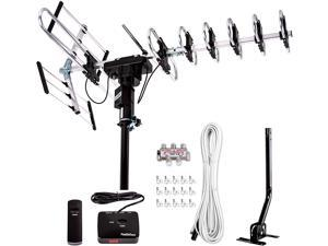 [Newest 2020] FiveStar Outdoor TV Antenna 200-Mile Long Range, 360 Degree Directional Rotation, Amplified, HDTV, Water Resistant, UV Resistant, Come with Installation Kit and Mounting Pole