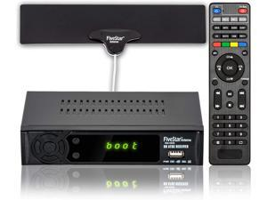 Five Star HD Digital TV CONVERTER BOX w/ 1080p HDMI Output, ATSC, 40 Miles Over The Air(OTA) Flat Antenna & Amplifier, Daily/Weekly Scheduled PVR Recorder w. TV Control Learning Buttons
