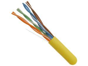 FiveStar Cable ETL Listed 1000 Ft. Cat5E Cable UTP Solid Copper PVC CMR-Rated Cable - Yellow