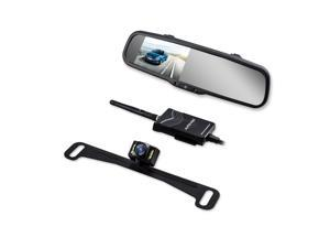 AUTOVOX T1400W Wireless Parking Reverse Assistance System 4.3 Inch Rearview Mirror Monitor with Night Vision License Plate Camera and 2.4G Wireless Transmitter