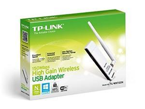 TP-Link TL-WN722N Wireless N150 High Gain USB Adapter, 150 Mbps with 4 dBi High Gain Detachable Antenna, IEEE 802.1b/g/n, WEP, WPA/WPA2