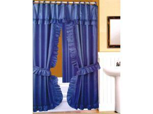 DOUBLE SWAG FABRIC SHOWER CURTAIN, LINER, RINGS, DOBBY DOT DESIGN, BLUE