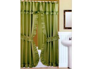 DOUBLE SWAG FABRIC SHOWER CURTAIN, LINER, RINGS, DOBBY DOT DESIGN, PERIDOT GREEN