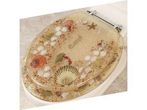 JEWEL SHELL SEASHELL AND SEAHORSE RESIN TOILET SEAT, CHROME HINGES ELONGATED, BEIGE