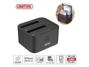 "UNITEK 2.5"" 3.5"" HDD Docking Station Offline Clone Dual Bay SATA + USB Type C"