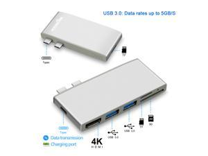 multi type c 3.0 2 USB hub port HDMI 4K adapter splitter with SD TF Card Reader for MacBook pro pc laptop accessories