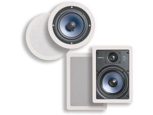 """Polk Audio RC60i 6-1/2"""" Round In-ceiling Speakers (Pair) + RC65i 6-1/2"""" In-Wall Speakers (Pair) Bundle"""
