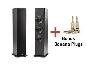Polk Audio T50 Floor Standing 2-Way Tower Speakers (1 pair) with Premium Banana Plugs (2 Pairs)