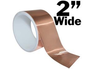 16 Feet of 2 Inch Wide Copper Foil Tape with Adhesive - Conductive on Both Sides for EMI Shielding, Electrical Repairs, Engineering Projects, Arts & Crafts, or Stained Glass