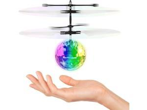 Magic Flying Hover Disco Ball with Colorful Lights, Fun Helicopter Gadget Toy Hovers Above Your Hand by Infrared Induction, Suitable for Indoor and Outdoor Use, USB Rechargeable