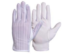 ESD Anti-Static Gloves (1 Pair, Size: Medium), No-Slip Grip, Conductive Woven Polyester & Cotton