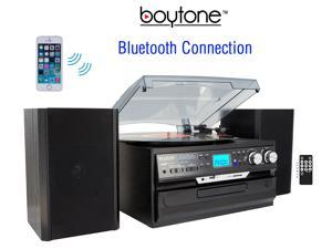 7-in-1 Boytone BT-24DJB with Bluetooth Connection, 3 Speed 33, 45, 78 Rpm, CD, Cassette Player AM, FM USB, SD Slot, Aux Input. Encoding Vinyl & Radio & Cassette To-MP3, Remote control & 45 Adaptor