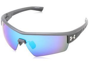 630e8e0fe8 Under Armour UA Fire Satin Carbon Grey Frame Blue Mirror Lens Men s Sport  Shield Sunglasses