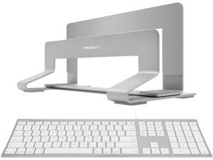 Macally Ultra Slim Wired Computer Keyboard and Vertical Laptop Stand, Declutter to Boost Productivity