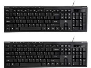 (2-Pack) Rii RK907 Ultra-Slim Compact USB Wired Keyboard for Mac and PCWindows 10/8 / 7 / Vista/XP (Black)