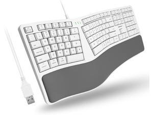 Macally Mac Wired Keyboard with Wrist Rest - Natural and Comfortable Typing - Split Ergonomic Keyboard for Mac with 110 Keys 21 OSX Shortcuts and 5ft USB Cable - USB Apple Keyboard Ergonomic Design