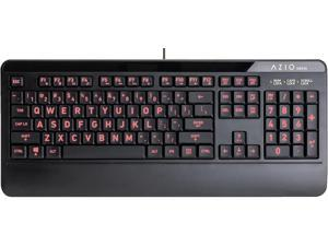 Azio Large Print Waterproof USB Keyboard - Wired 3-Color LED Backlit and Washable with Silver Antimicrobial Protection | Keyboards for Windows PC Version Led Black/Blue Purple Red (KB530)