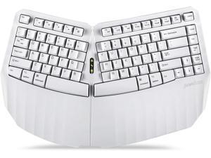 Perixx PERIBOARD-613W Mini Wireless Ergonomic Split Keyboard with Dual 2.4G and Bluetooth Mode - Compatible with Windows 10 and Mac OS X - White - US English (11811)