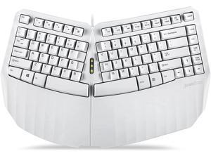 Perixx PERIBOARD-413W US Wired Ergonomic Compact Split USB Keyboard - 15.75x10.83x2.17 inches TKL Design - White - US English (11810)