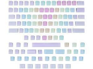 109 Pcs POM Jelly Keycaps Set for Mechanical Keyboard, Doubleshot Translucent OEM Profile Blank Keycaps for DIY 60% /87 TKL/104/108 MX Switches - Rainbow