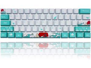 Keycap 60 Percent for GK61 RK61 Anne Pro, 104/87/61 Custom Fullsize Key Cap Set for Cherry Mx Gateron Kailh Switch 60% Mechanical Gaming Keyboard (Coral Sea)