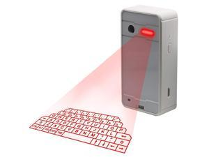 [6-16 Days Fast Delivery]Virtual Laser Keyboard,Wireless Bluetooth Portable Projection Keyboard with Mini Speaker Voice for PC Smartphone Digital Typer Table (White)