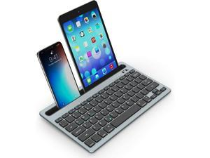 Bluetooth Keyboard Compatible for iPad, LEKVEY Rechargeable Multi-Device Wireless Keyboard with Holder for iPad 10.2/9.7, iPad Air2, iPad Pro 11, iPhone11/12, MacBook, Space Grey