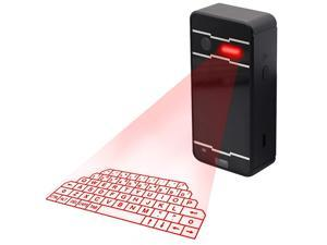 [6-16 Days Fast Delivery]Virtual Laser Keyboard,Wireless Bluetooth Portable Projection Keyboard with Mini Speaker Voice for PC Smartphone Digital Typer Table (Black)