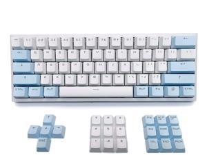 XVX White Keycaps Custom-Keycaps 60 Percent, Suitable for GK61/RK61/Anne/Ducky/DK61 Mechanical Keyboard, Double Shot Backlit OEM Profile PBT Keycaps Set, with keycap Puller (White Blue keycaps)