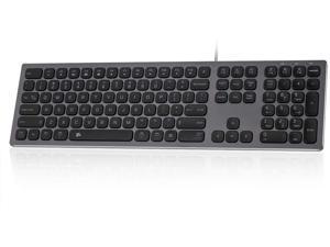BFRIENDit Aluminum Slim Wired Keyboard, US Layout Wired Computer Keyboard for Apple iMac, MacBook, Mac and PC, Windows 10/8 / 7, USB Keyboard Numeric Keypad Chocolate Keys - Grey