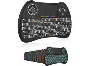 Mini Wireless Keyboard,H9 Mini Keyboard with Touchpad,Colorful Backlit Wireless Mini Keyboard,Mini Rechargeable Handheld Remote Keyboard for PC,Raspberry Pi 4, Android TV Box,KODI,Windows 7 8 10