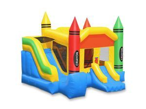 Cloud 9 Commercial Grade Crayon Castle Bounce House with Slide - 100% PVC 18' x 17' Bouncer - Inflatable Only
