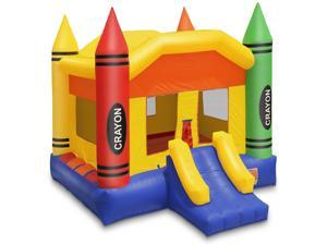 Cloud 9 Commercial Grade Crayon Castle Bounce House with Built-in Roof and Emergency Escape Hatch for Safety - 100% PVC 17' x 13' Bouncer - Inflatable Only