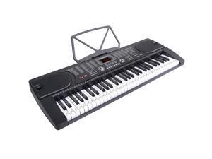 Hamzer 61-Key Electronic Piano Electric Organ Music Keyboard with Stand, Microphone, & Sticker Sheet - Black