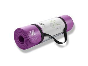 "Node Fitness 72"" x 24"" Yoga Mat - 1/2"" Extra Thick with Carrying Strap - Purple"