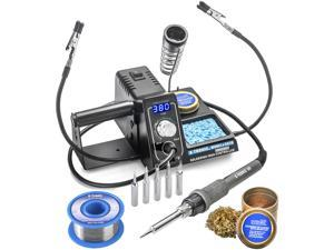 X-Tronic Model #3020 LED Soldering Iron Station with 2 Helping Hands, 5 Extra Sizes of Solder Tips, 10 Minute Sleep Func, C/F Switch, Solder Roll Holder, Brass Tip Cleaner w/Cleaning Flux & Wet Sponge