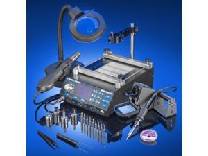 X-Tronic Model #5040-XR3 All In One Hot Air Rework Soldering Iron Station With Preheater.  Includes 4 Hot Air Nozzles - 10 Asst. Solder Tips - Pinpoint Tweezers - IC Popper, Gootwick - 5X Mag Lamp