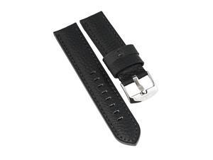 Water Resistant Black Watch Strap by Du Maurier. Black Double Thickness, Water Resistant Leather Men's Strap, 22mm