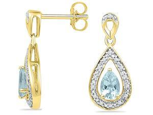 10K Yellow Gold Created Aquamarine Teardrop Dangle Earrings 1/2 Carat (ctw) with Screwback