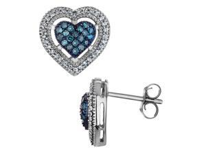 White and Blue Diamond Heart Earrings 2/5 Carat (ctw I-J, I2-I3) in 10K White Gold