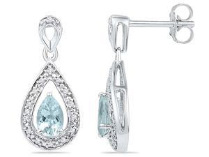 10K White Gold Lab Created Aquamarine Teardrop Dangle Earrings 1/2 Carat (ctw) with Screwback