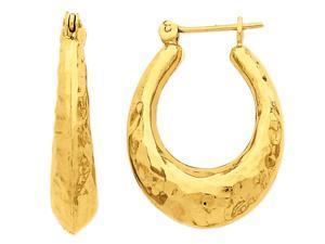 14K Yellow Gold Hammered Fancy Hollow Hoop Earrings