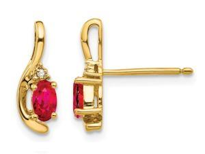 Natural Red Ruby 1/2 Carat (ctw) Oval Stud Earrings in 14K Yellow Gold with Accent Diamonds