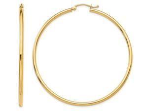 Large Classic 14K Yellow Gold Hoop Earrings 2 Inches