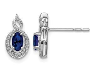 Sterling Silver 1/2 Carat (ctw) Lab Created Blue Sapphire Earrings