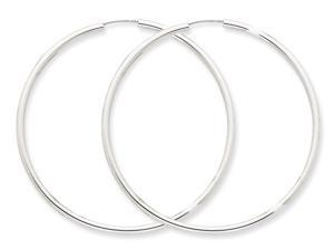 Extra Large Hoop Earrings in 14K White Gold 2 1/2 Inch (2.00 mm)