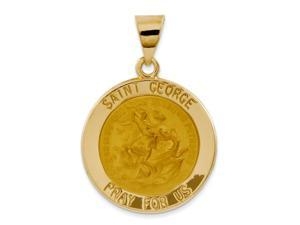 14K Yellow Gold Polished and Satin St. George Medal Pendant
